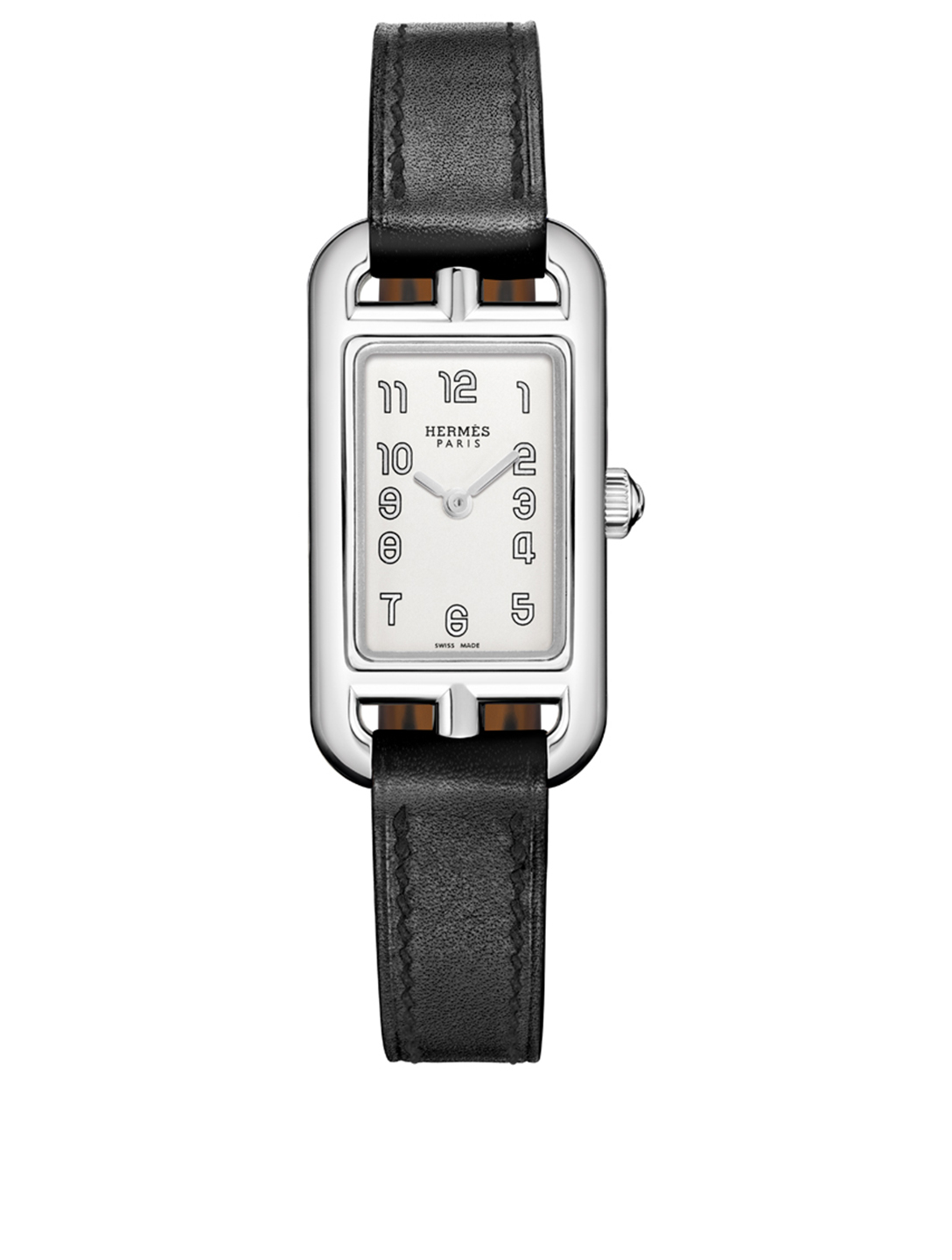 HERMÈS Nantucket TPM Leather Strap Watch, 17 x 23mm Women's Black