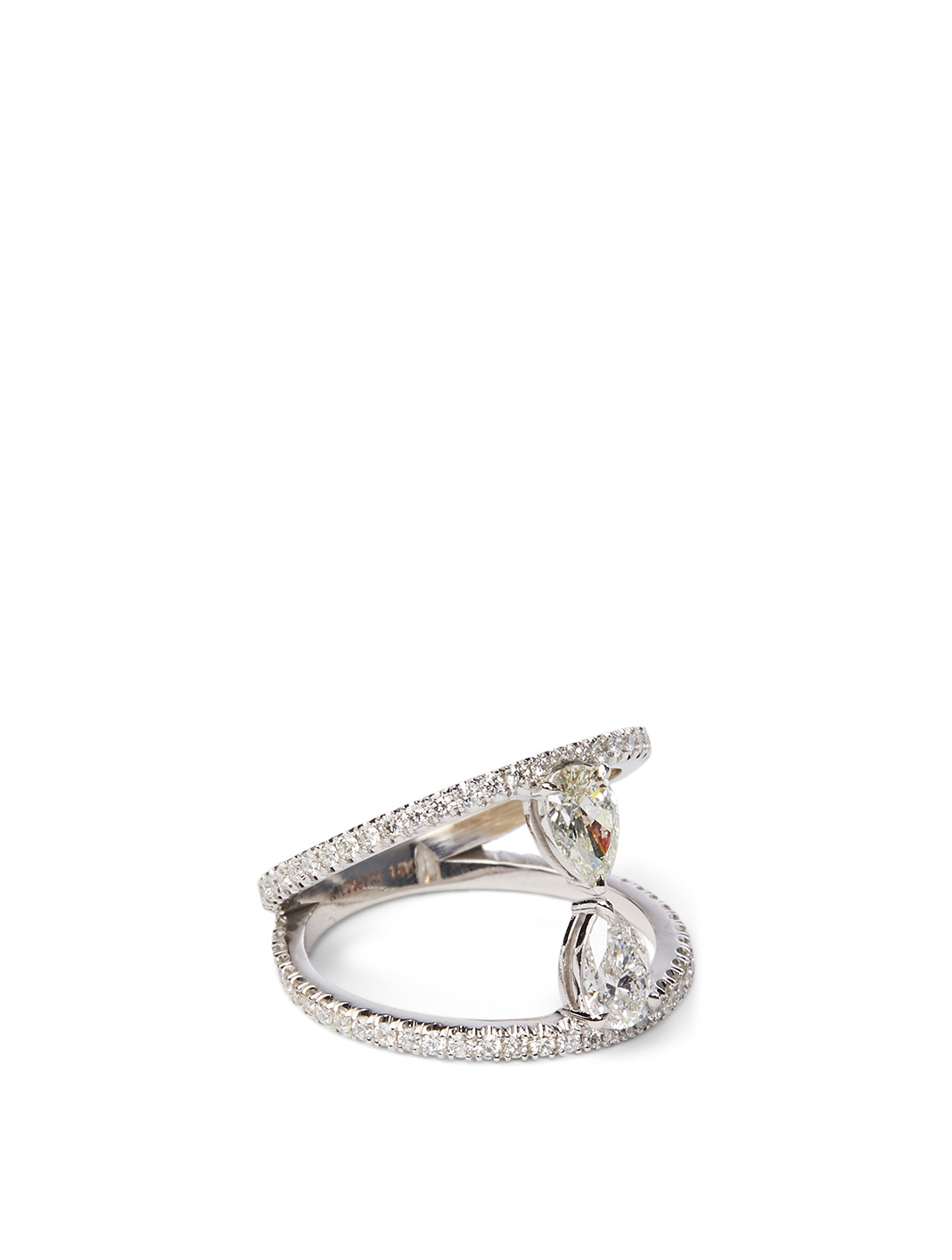 KATKIM Duet 18K White Gold Pear Ring Pavé Diamonds Women's Metallic