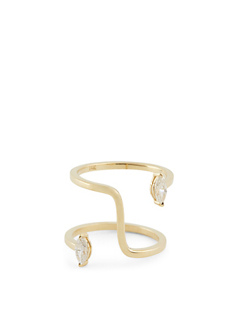 KATKIM Farris Marquise 18K Gold Ring With Diamonds Women's Metallic