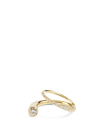 KATKIM Grande Crescendo Flare 18K Gold Ring With Diamonds Women's Metallic