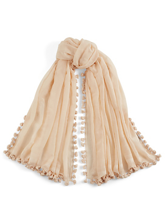 CLOTH & CO. Silk And Cotton Scarf With Pom Poms H Project White