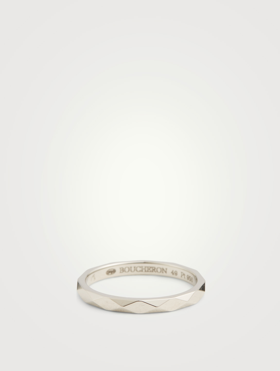 BOUCHERON Small Facette Platinum Wedding Band Women's Metallic