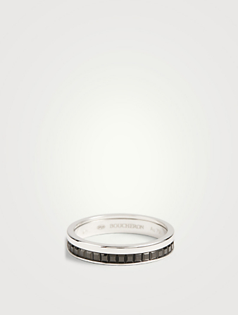 BOUCHERON Black Edition Quatre White Gold Wedding Band With Black PVD Women's Metallic