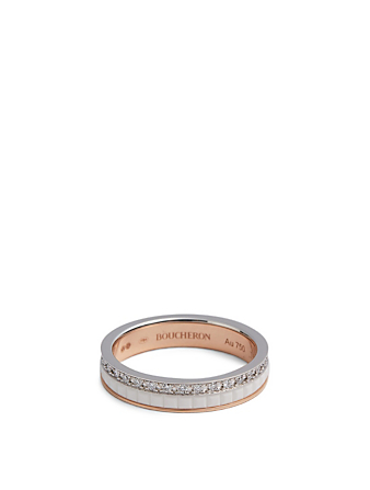 BOUCHERON White Edition Quatre Rose Gold And White Gold Wedding Band With Ceramic And Diamonds Women's Metallic