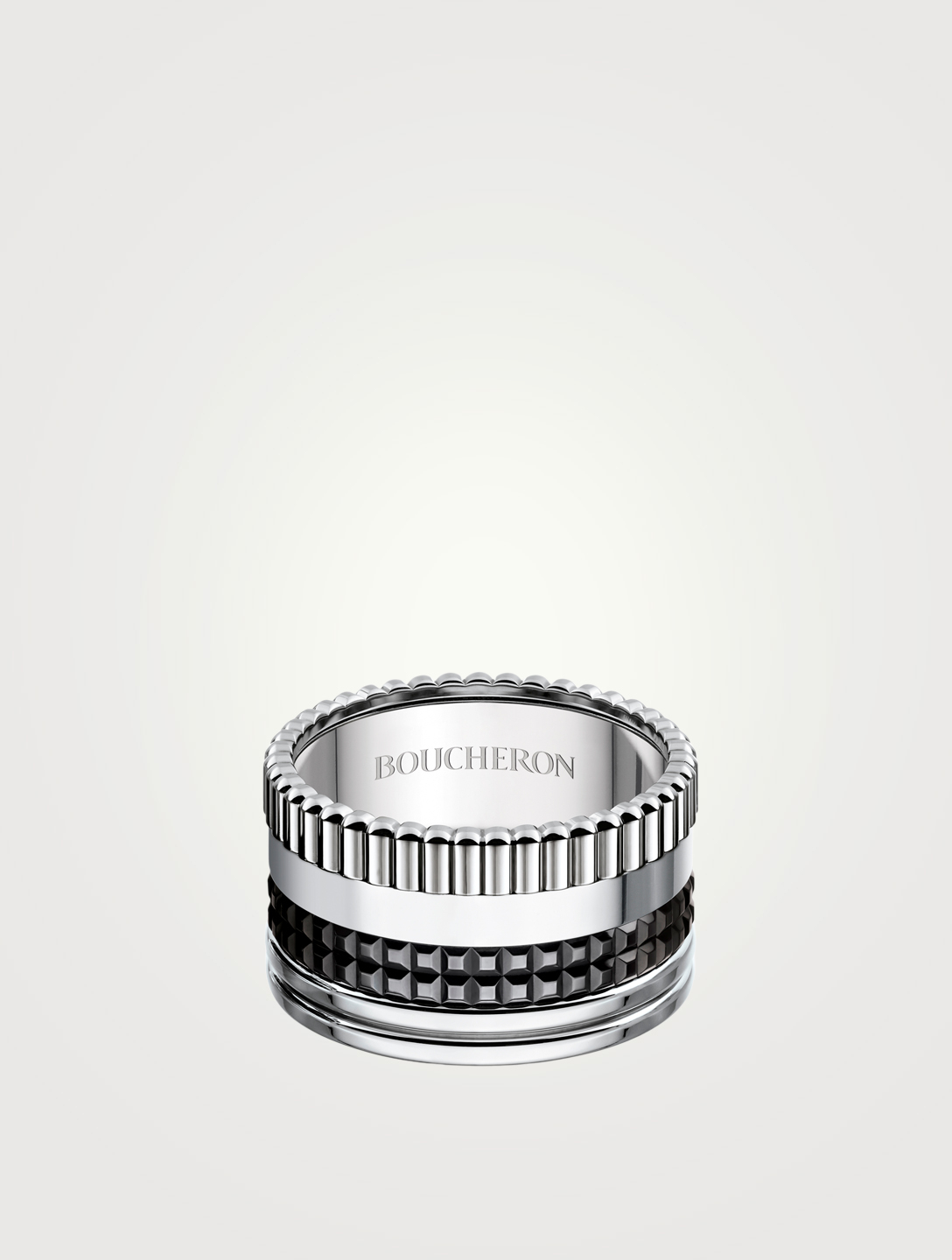 BOUCHERON Large Black Edition Quatre White Gold Ring With Black PVD Women's Metallic
