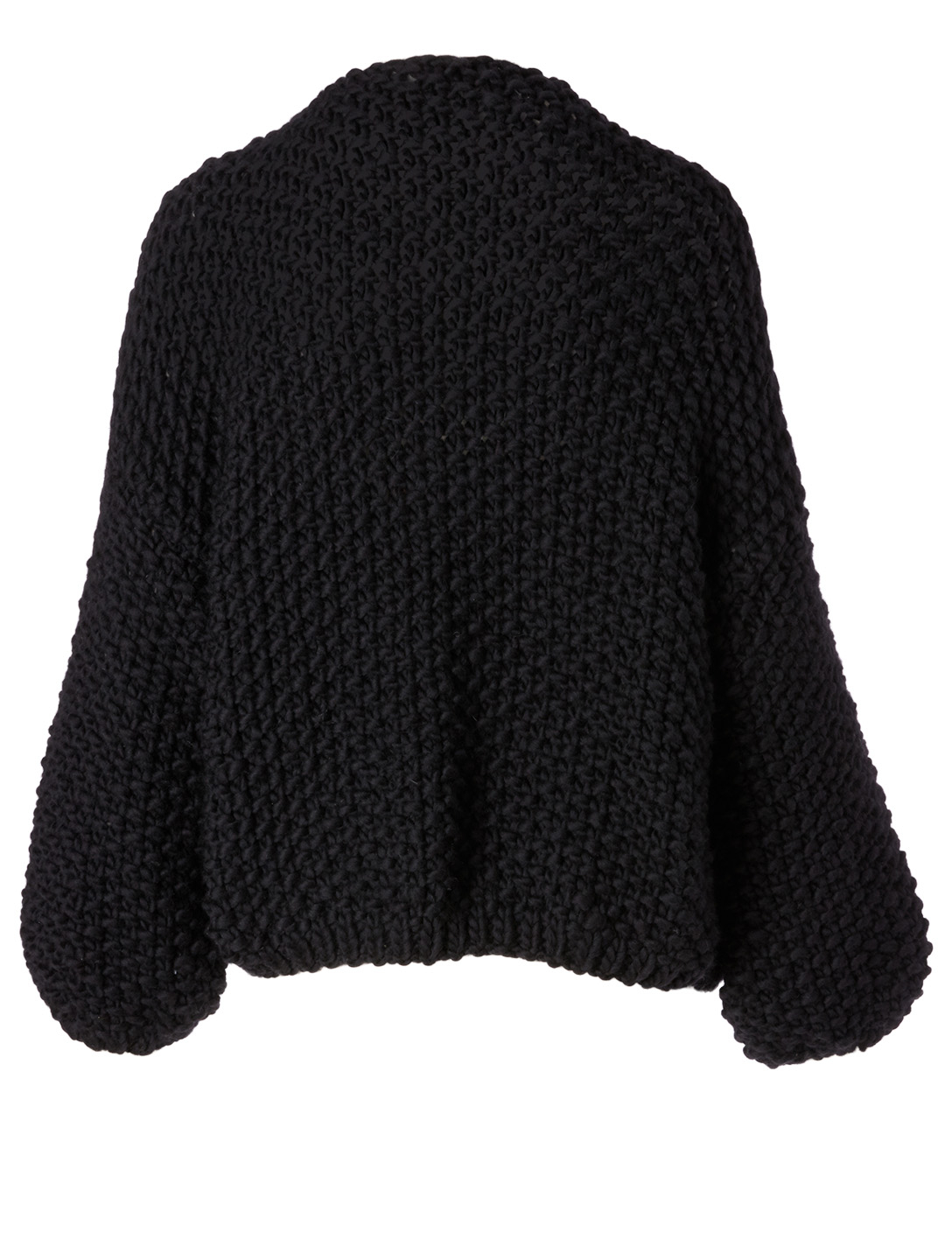 MAIAMI Big Pearl Pattern Merino Wool Cardigan H Project Black