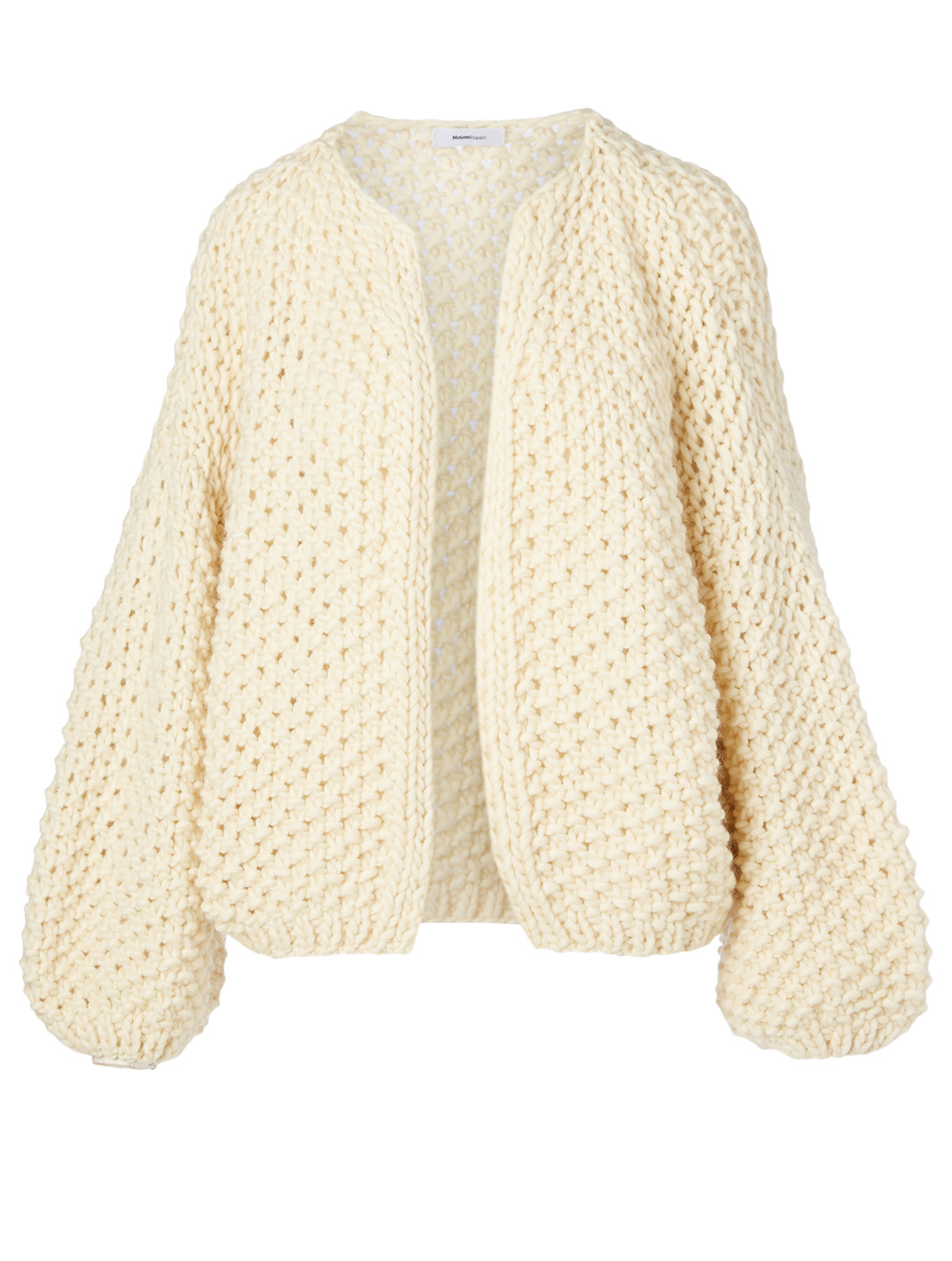 MAIAMI Big Pearl Pattern Merino Wool Cardigan H Project White