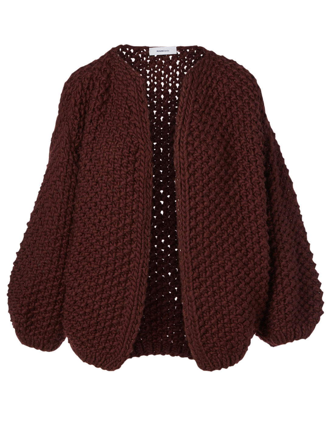 MAIAMI Big Pearl Pattern Merino Wool Cardigan H Project Red