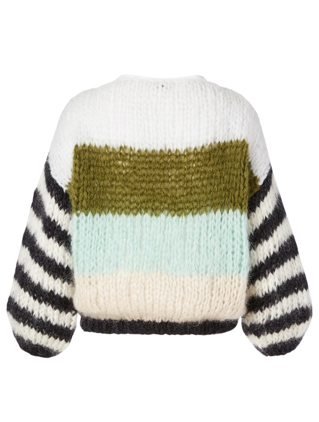 MAIAMI Big Mohair Sweater In Striped Pattern H Project Green