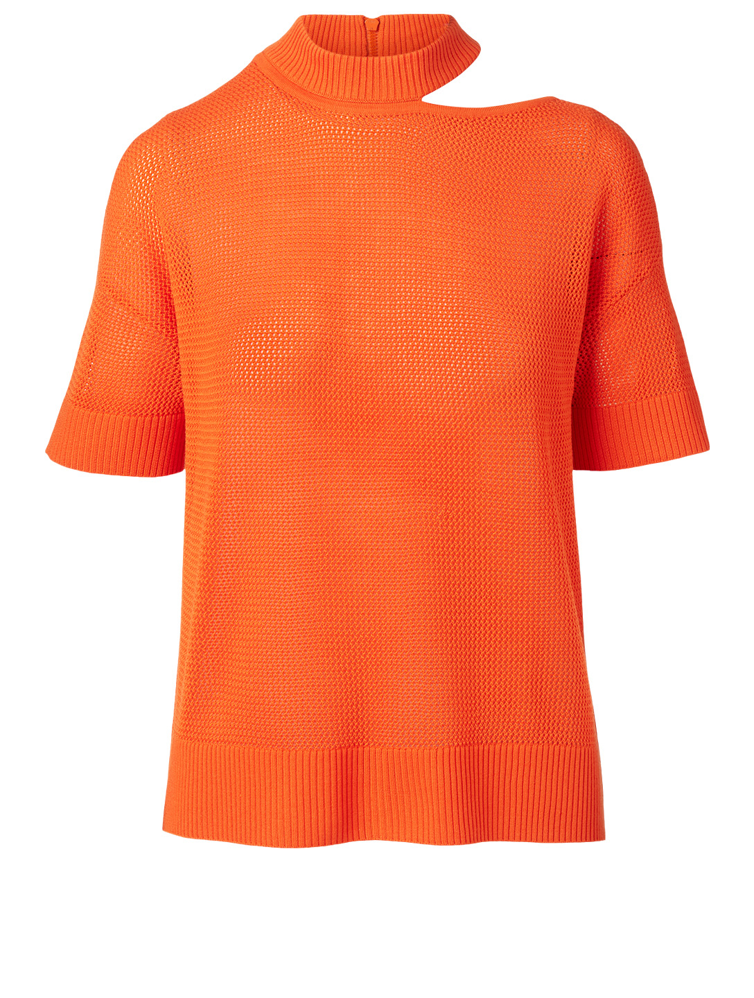 AKRIS PUNTO Wool Short-Sleeve Sweater With Cut-Out Women's Orange