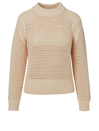 AKRIS PUNTO Cotton-Blend Mesh Sweater Women's White