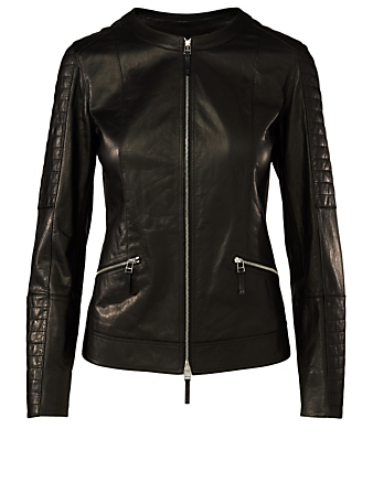 LAFAYETTE 148 NEW YORK Everly Leather Quilted Jacket Women's Black