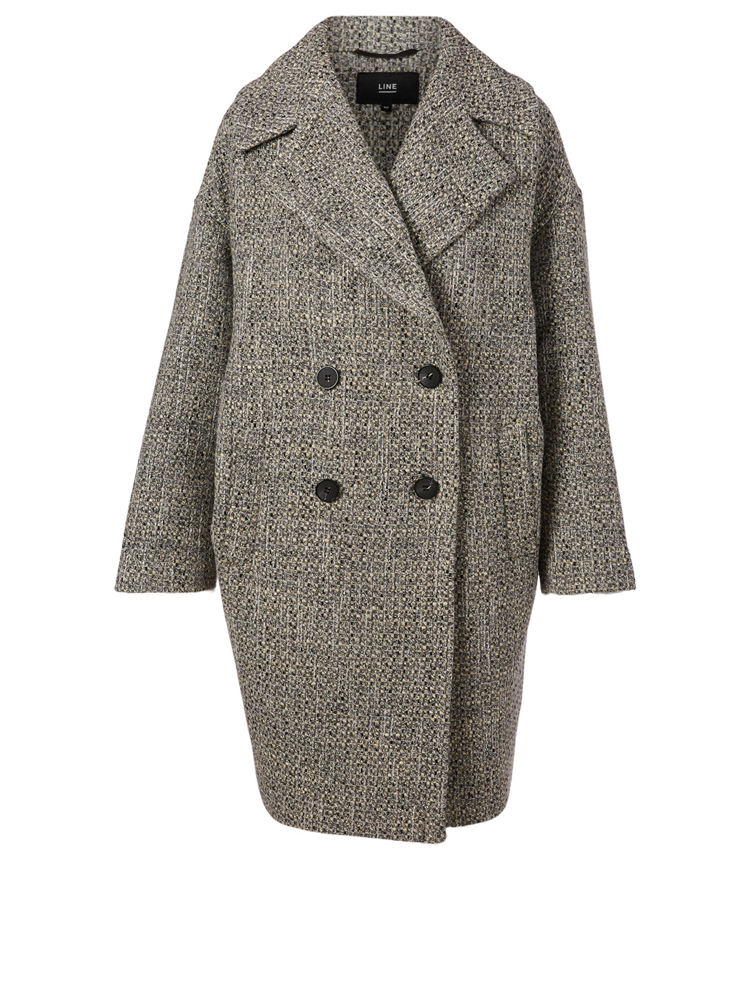 LINE Maxine Wool-Blend Double-Breasted Coat Designers Black
