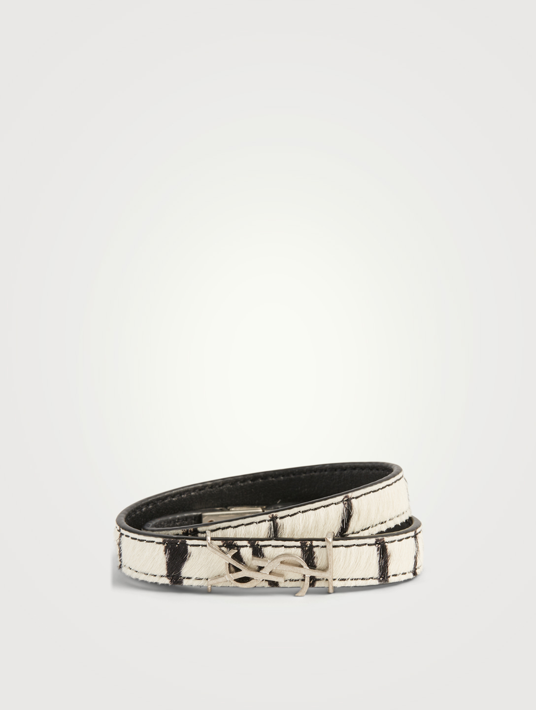 SAINT LAURENT Opyum YSL Calf Hair Wrap Bracelet In Zebra Print Women's Black