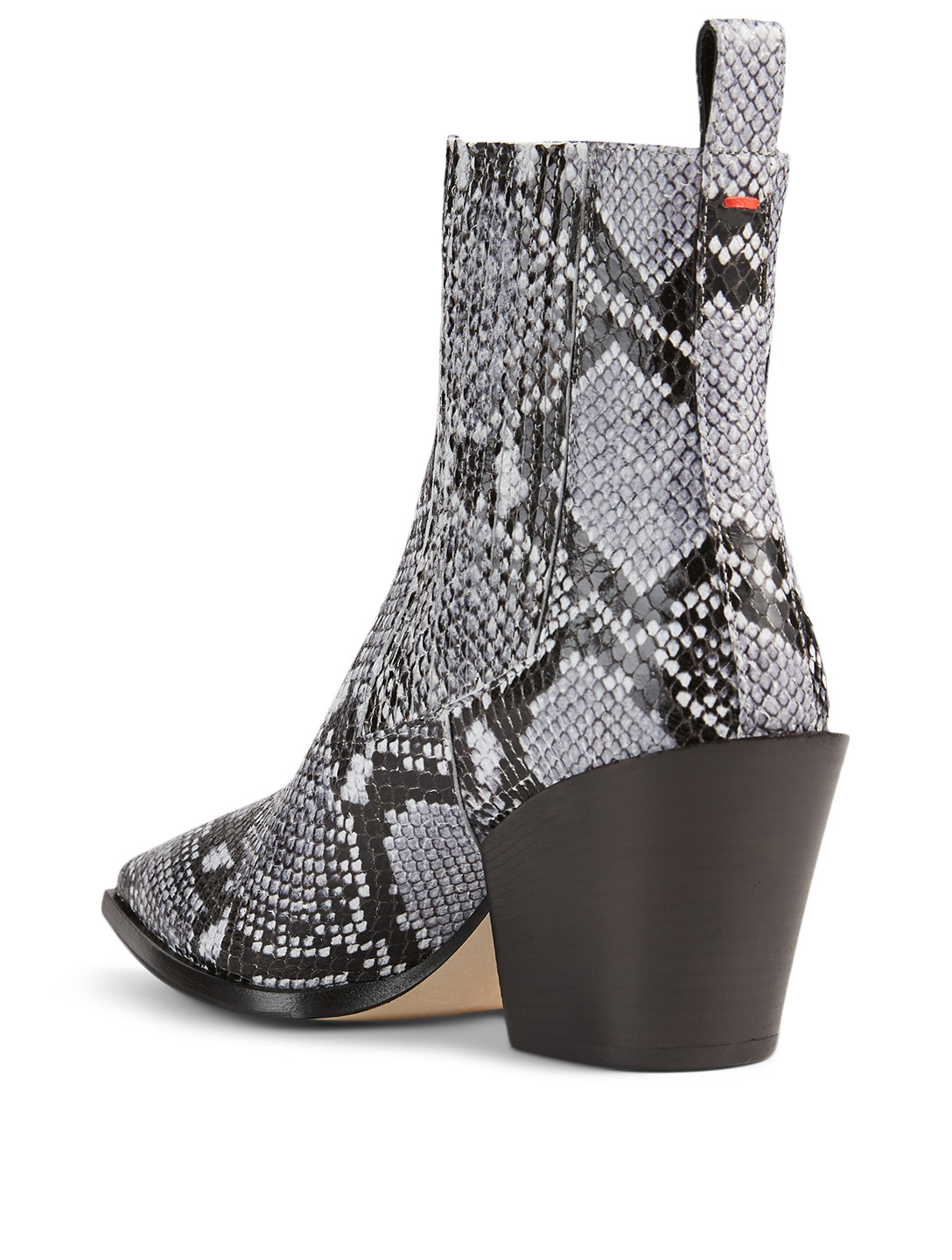 AEYDE Kate Leather Heeled Ankle Boots In Python Print Women's Blue