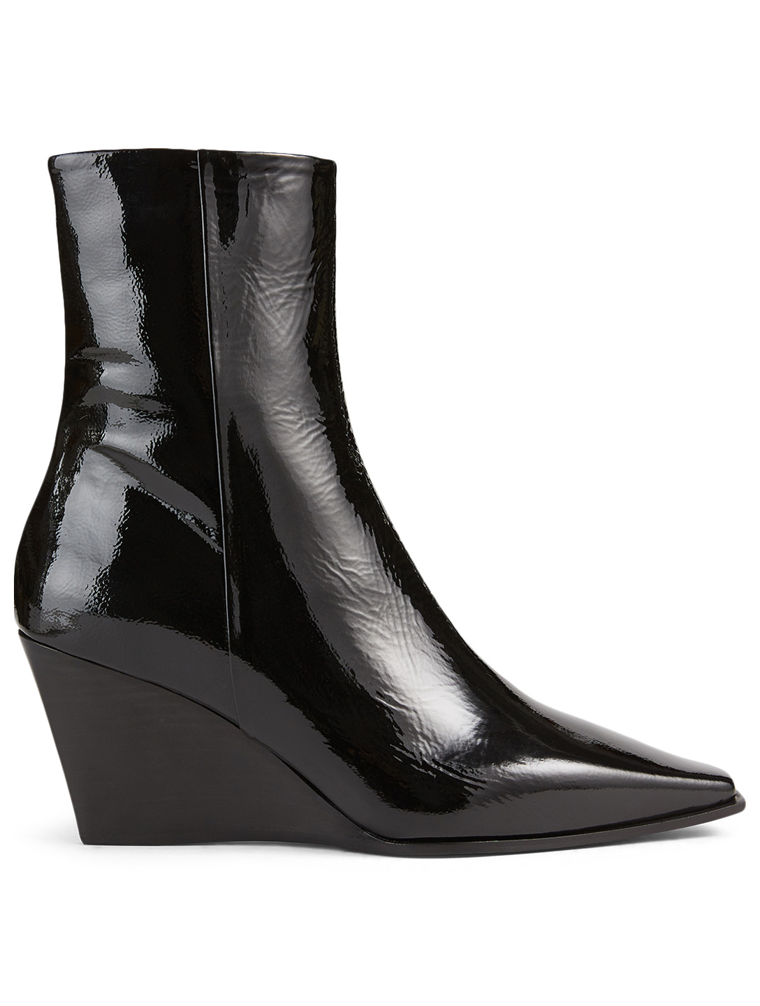 AEYDE Lena Patent Leather Wedge Ankle Boots Women's Black
