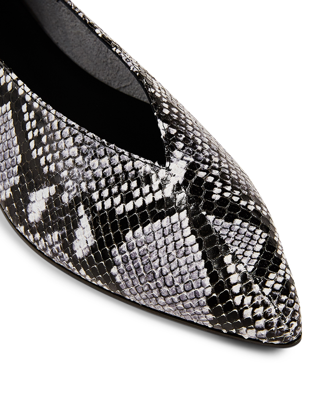 AEYDE Moa Leather Flats In Snake Print Women's Blue
