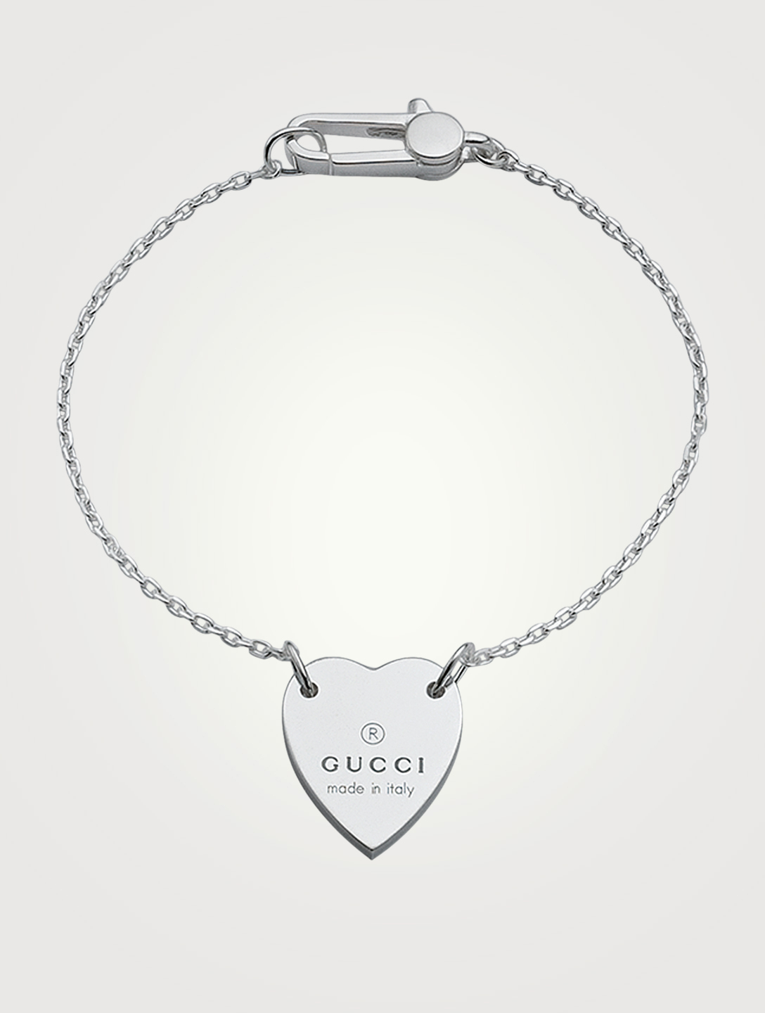 GUCCI Sterling Silver Heart Bracelet Women's Metallic