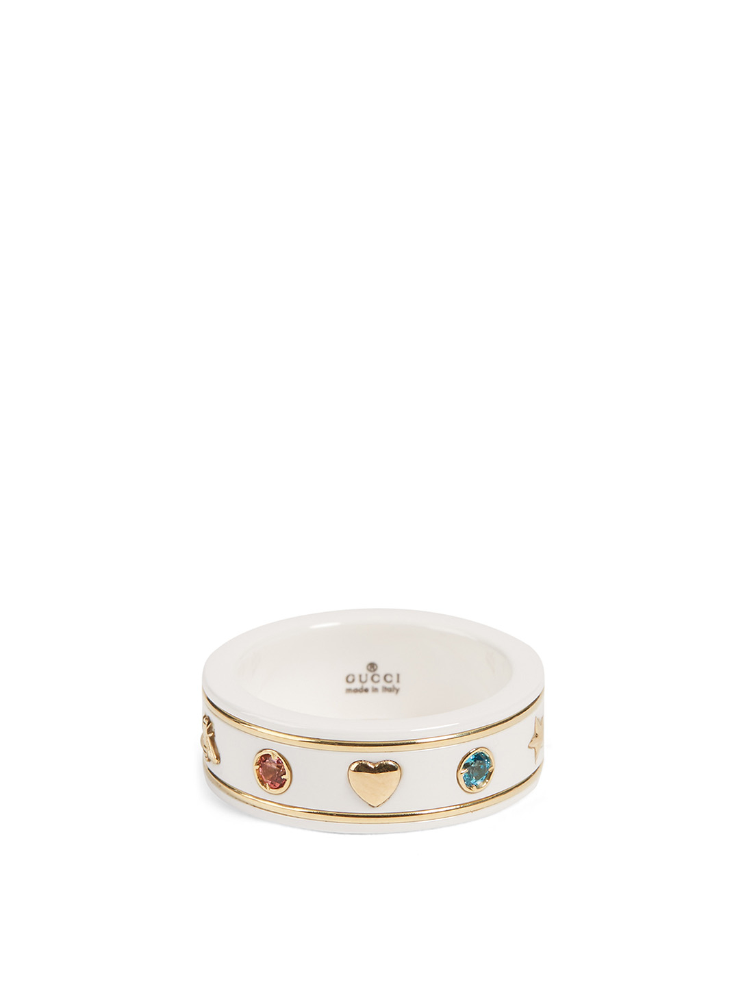 GUCCI Icon 18K Gold Ring With Gemstones Women's Metallic