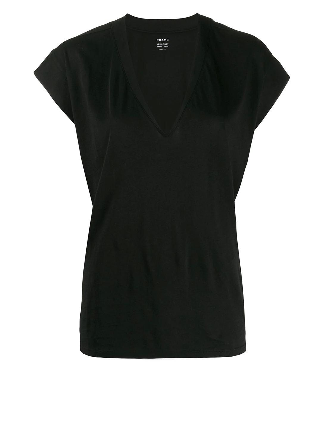 FRAME Le Mid Rise V-Neck T-Shirt Women's Black