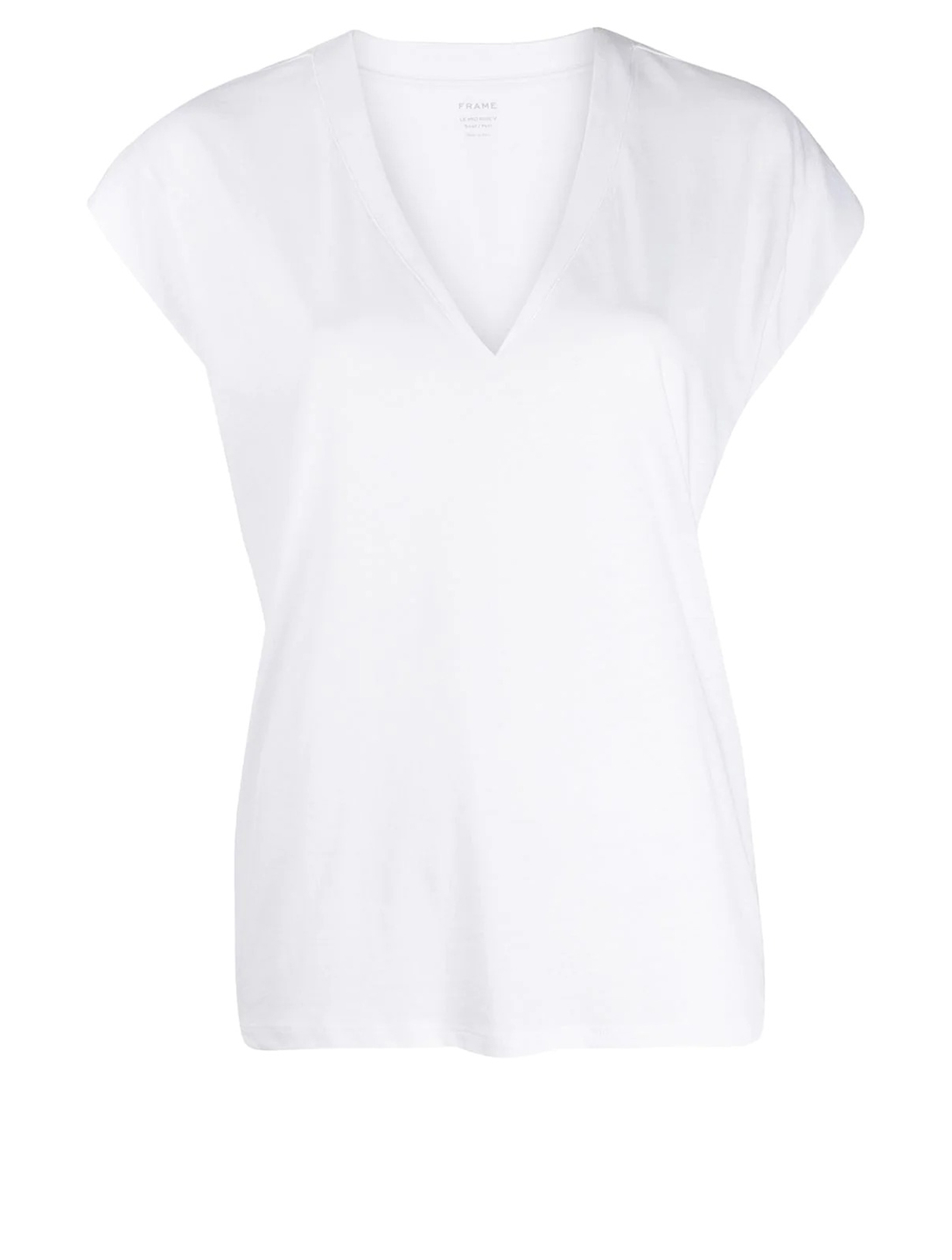 FRAME Le Mid Rise V-Neck T-Shirt Women's White