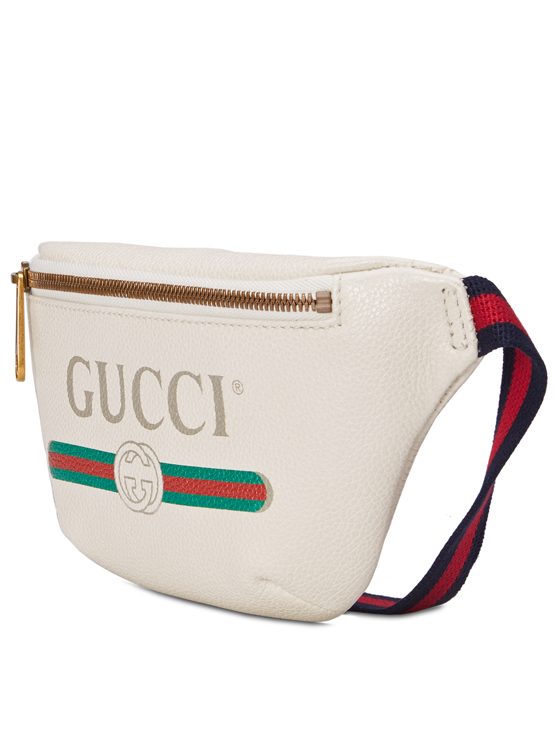 GUCCI Small Leather Belt Bag With Logo Print Women's White