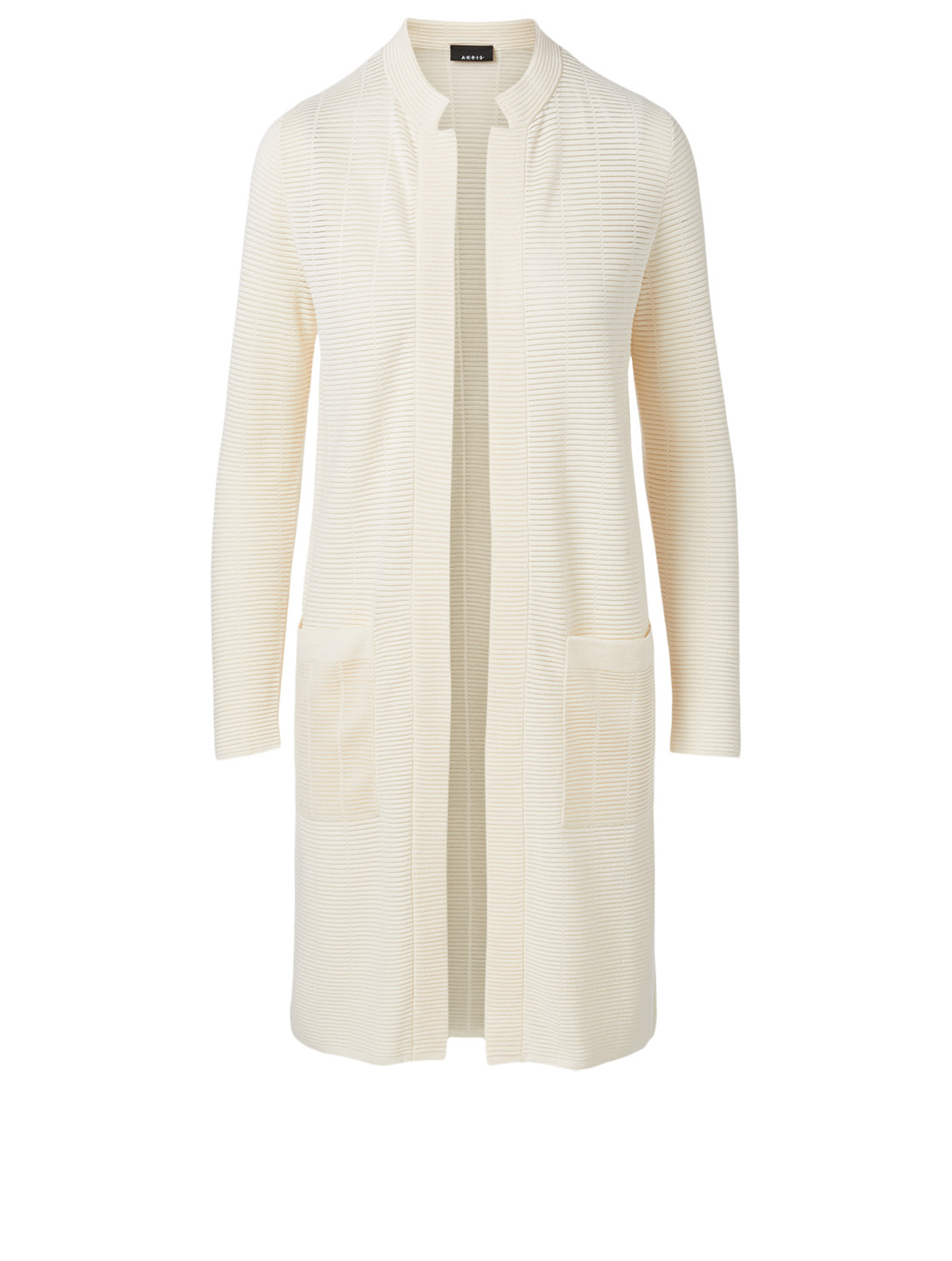 AKRIS Wool And Silk Long-Sleeve Cardigan Women's White