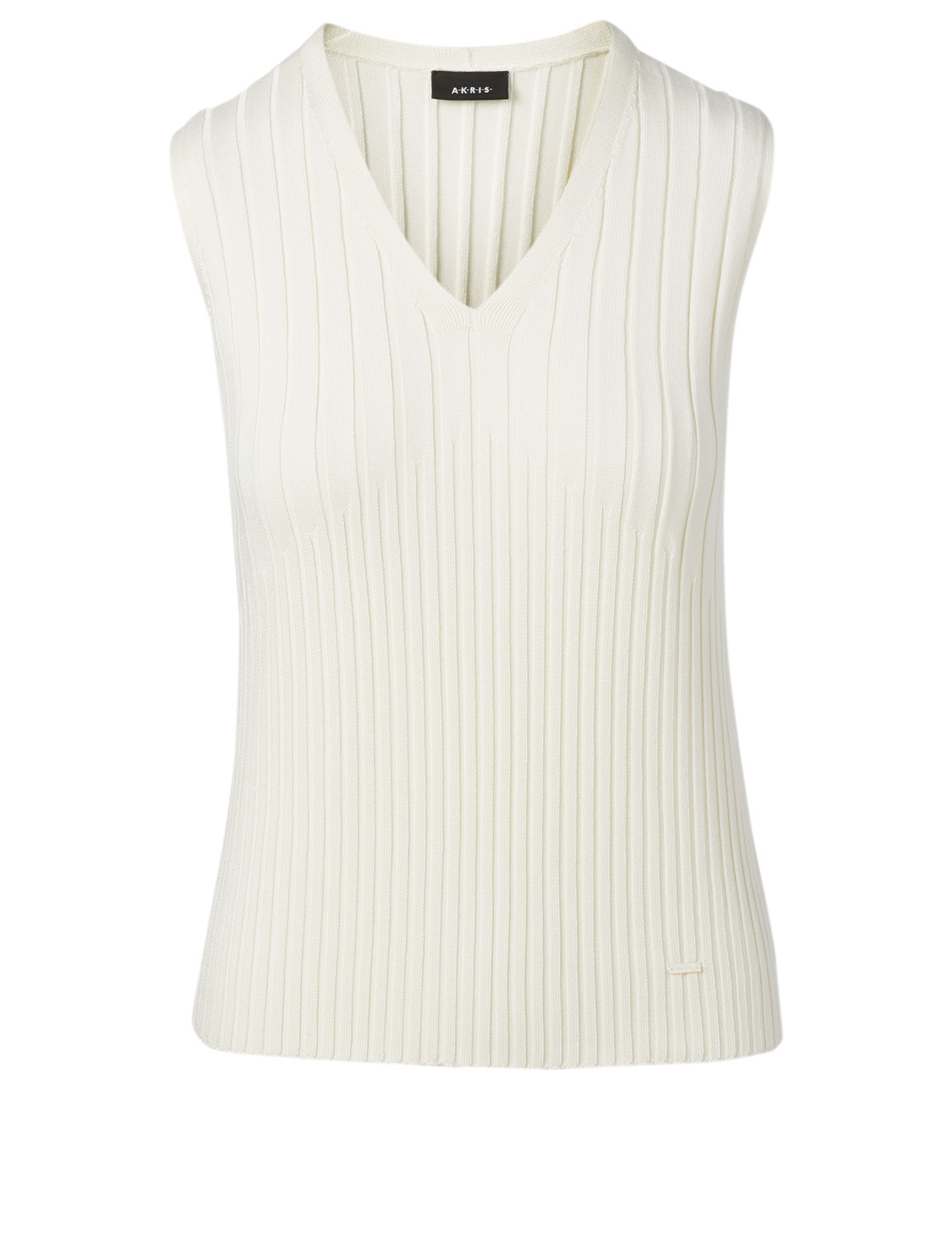 AKRIS Silk Stretch V-Neck Top Women's White