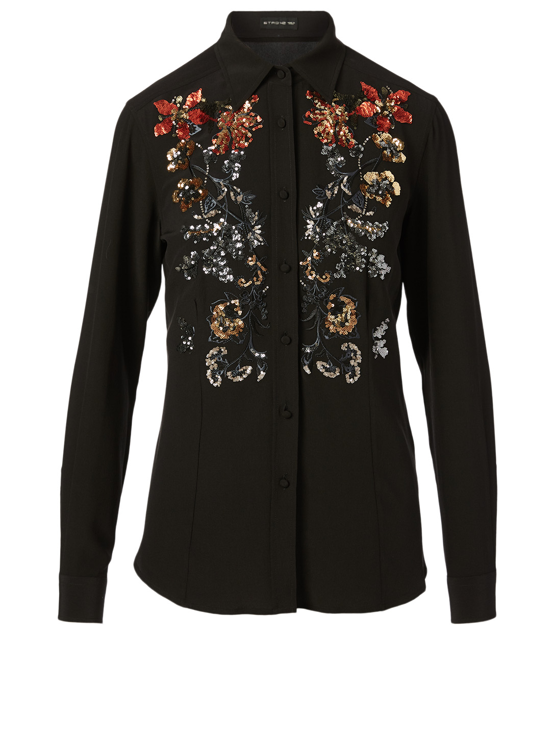 ETRO Silk Blouse With Sequin Embroidery Women's Black