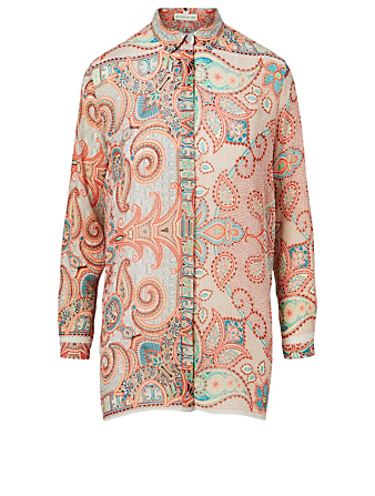 ETRO Silk Crépon Shirt In Paisley Print Women's Orange