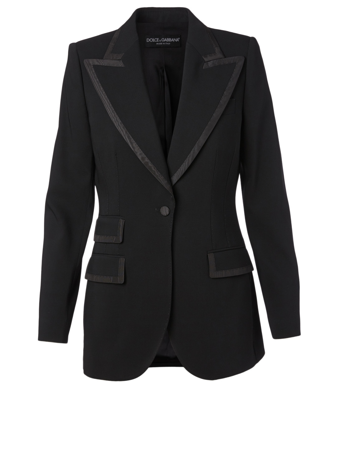 DOLCE & GABBANA Wool And Silk Blazer With Piping Women's Black