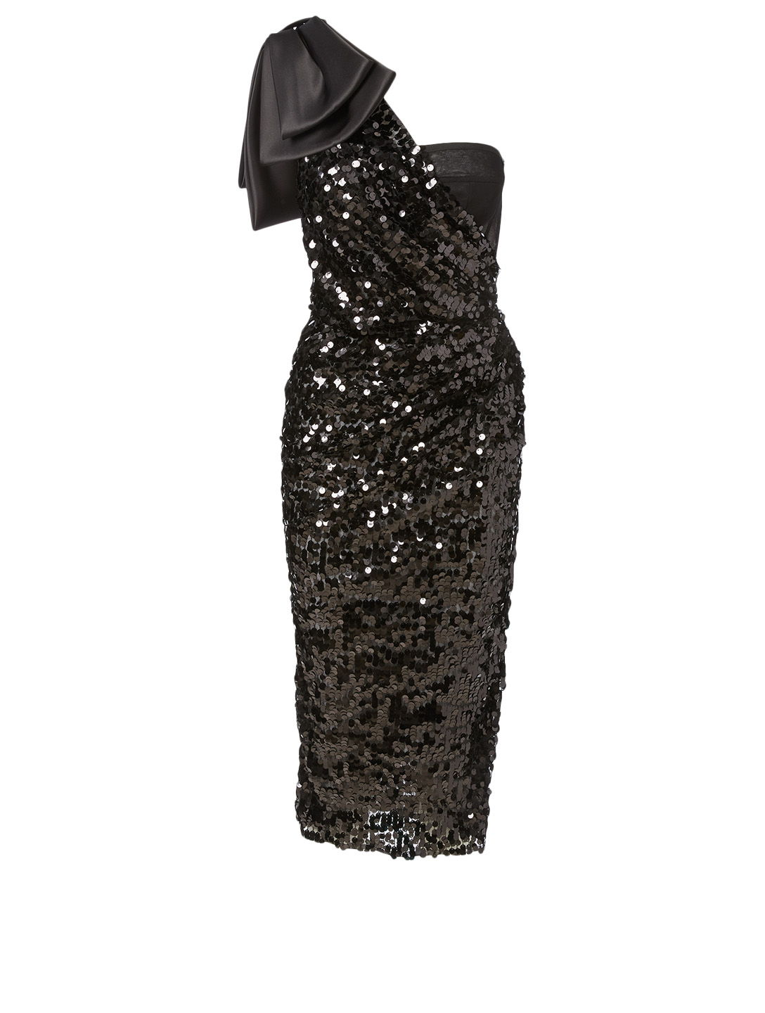 DOLCE & GABBANA Silk-Blend Sequin Dress With Bow Women's Black
