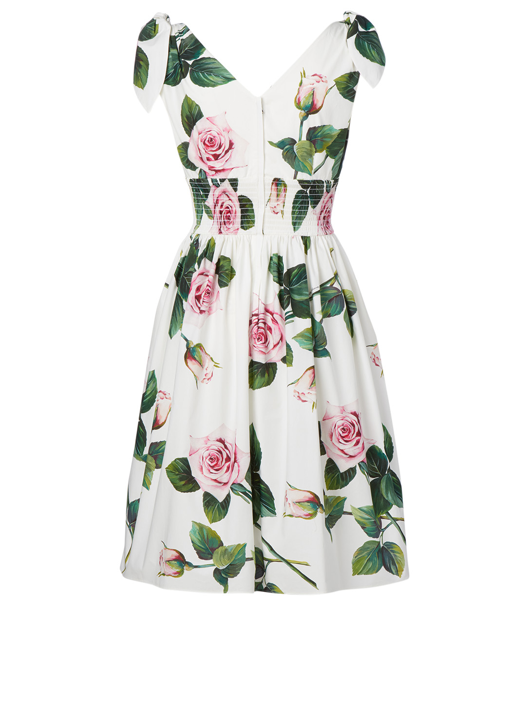 DOLCE & GABBANA Cotton Poplin Dress In Tropical Rose Print Women's Multi