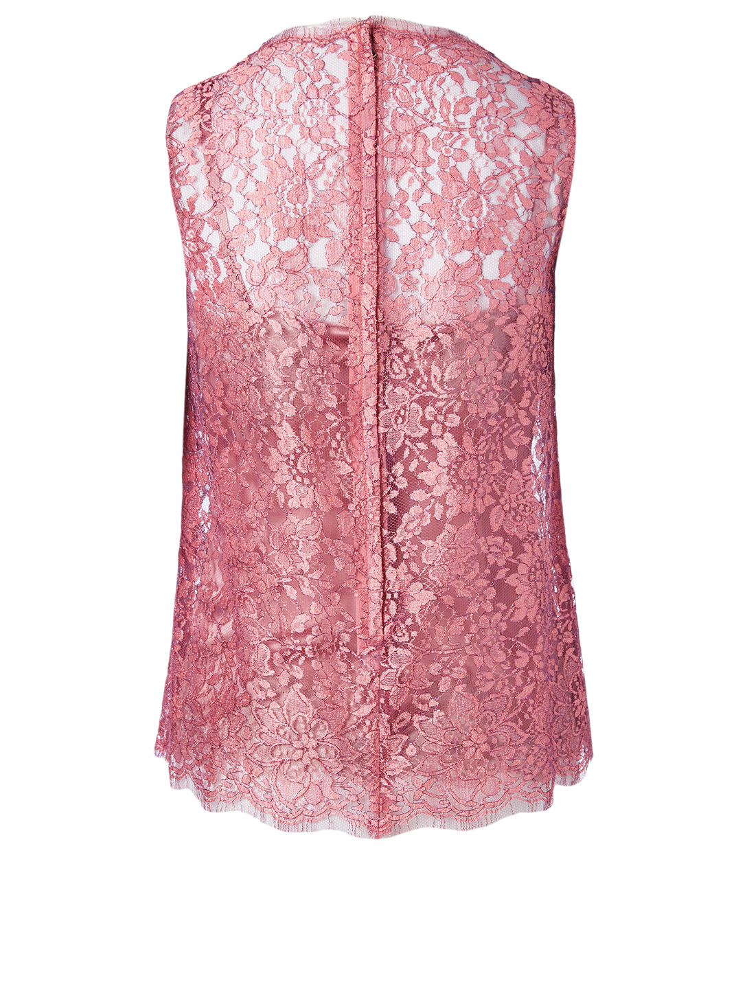 DOLCE & GABBANA Chantilly Lamé Lace Top Women's Purple