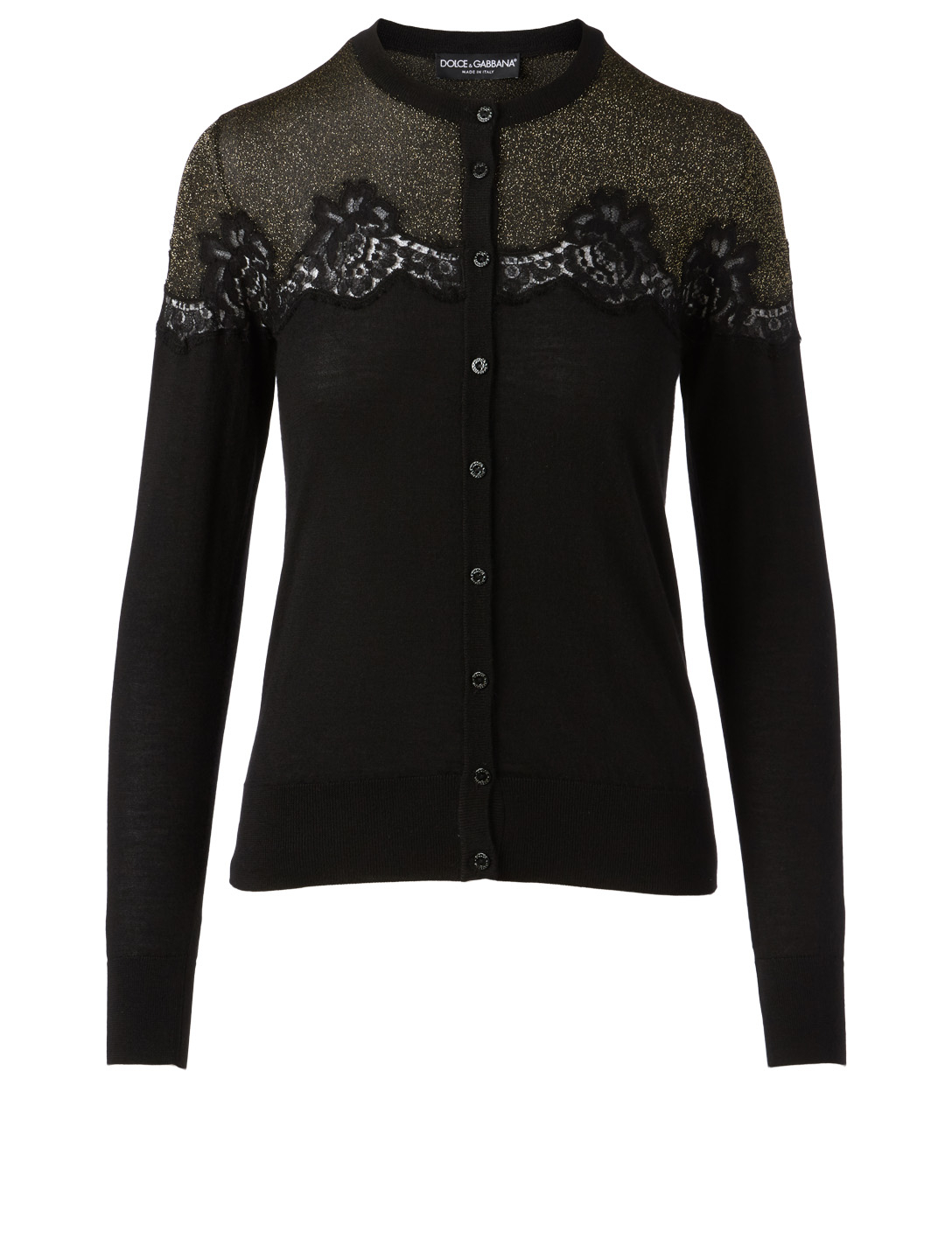 DOLCE & GABBANA Cardigan With Lace Inset Women's Black