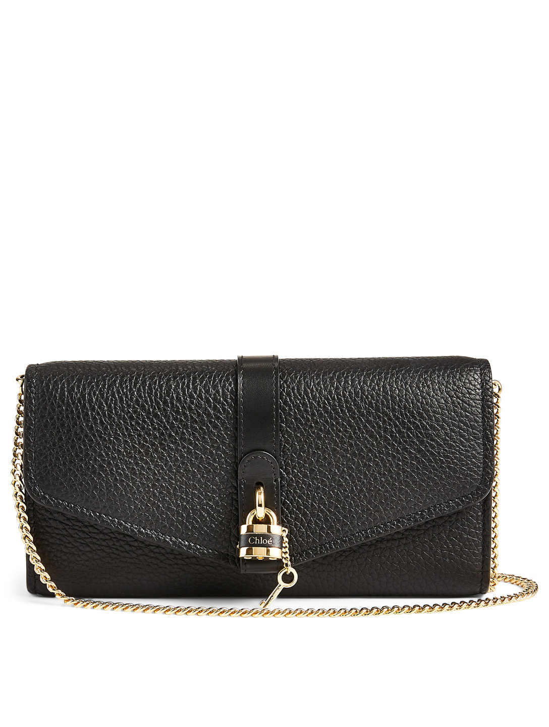 CHLOÉ Aby Leather Chain Clutch Bag Women's Black