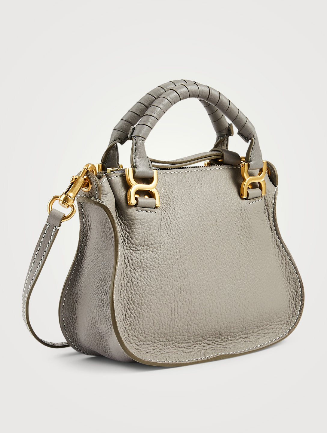 CHLOÉ Mini Marcie Leather Bag Women's Grey