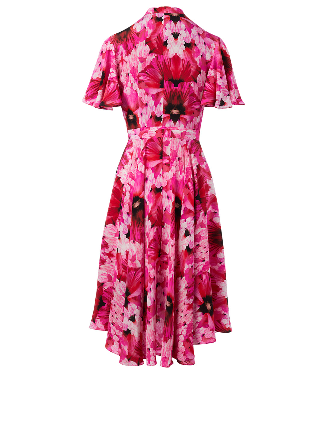 ALEXANDER MCQUEEN Silk Midi Dress In Floral Print Women's Pink