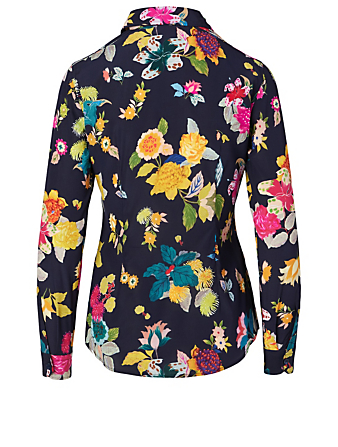 ETRO Silk Stretch Blouse In Floral Print Collections Multi