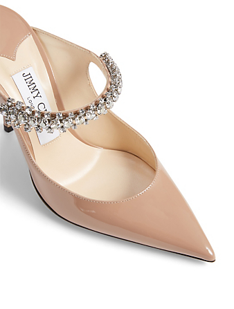 JIMMY CHOO Bing 100 Patent Leather Mules With Crystal Strap Women's Pink