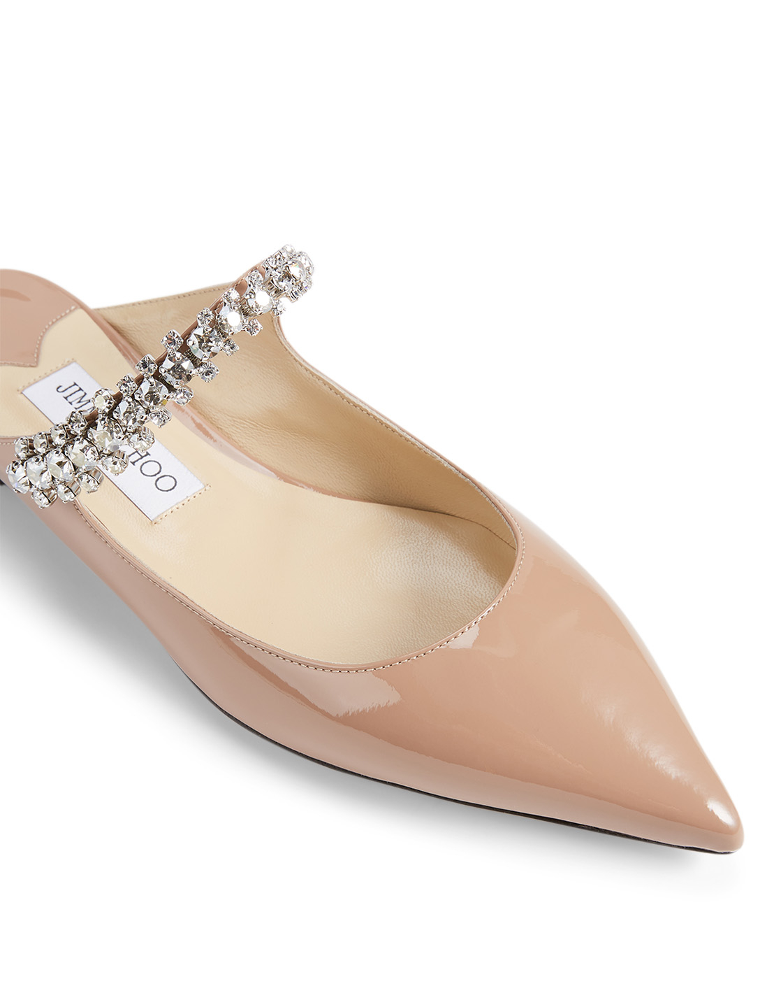 JIMMY CHOO Bing Patent Leather Flat Mules With Crystal Strap Women's Pink