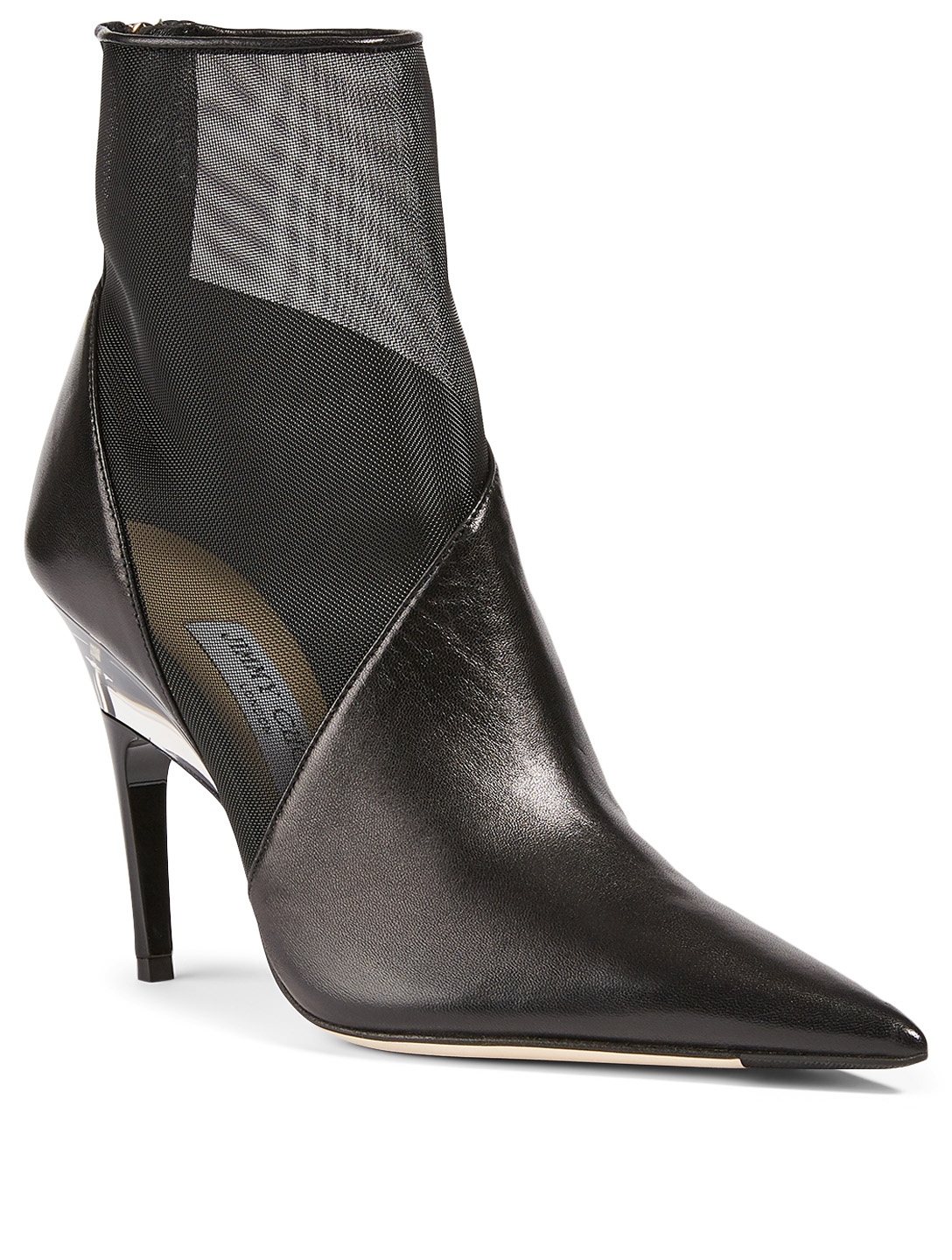 JIMMY CHOO Sioux 100 Leather And Mesh Plexi Heeled Ankle Boots Women's Black