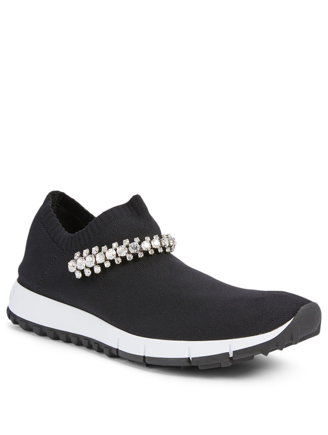 JIMMY CHOO Verona Knit Sock Sneakers With Crystals Women's Black