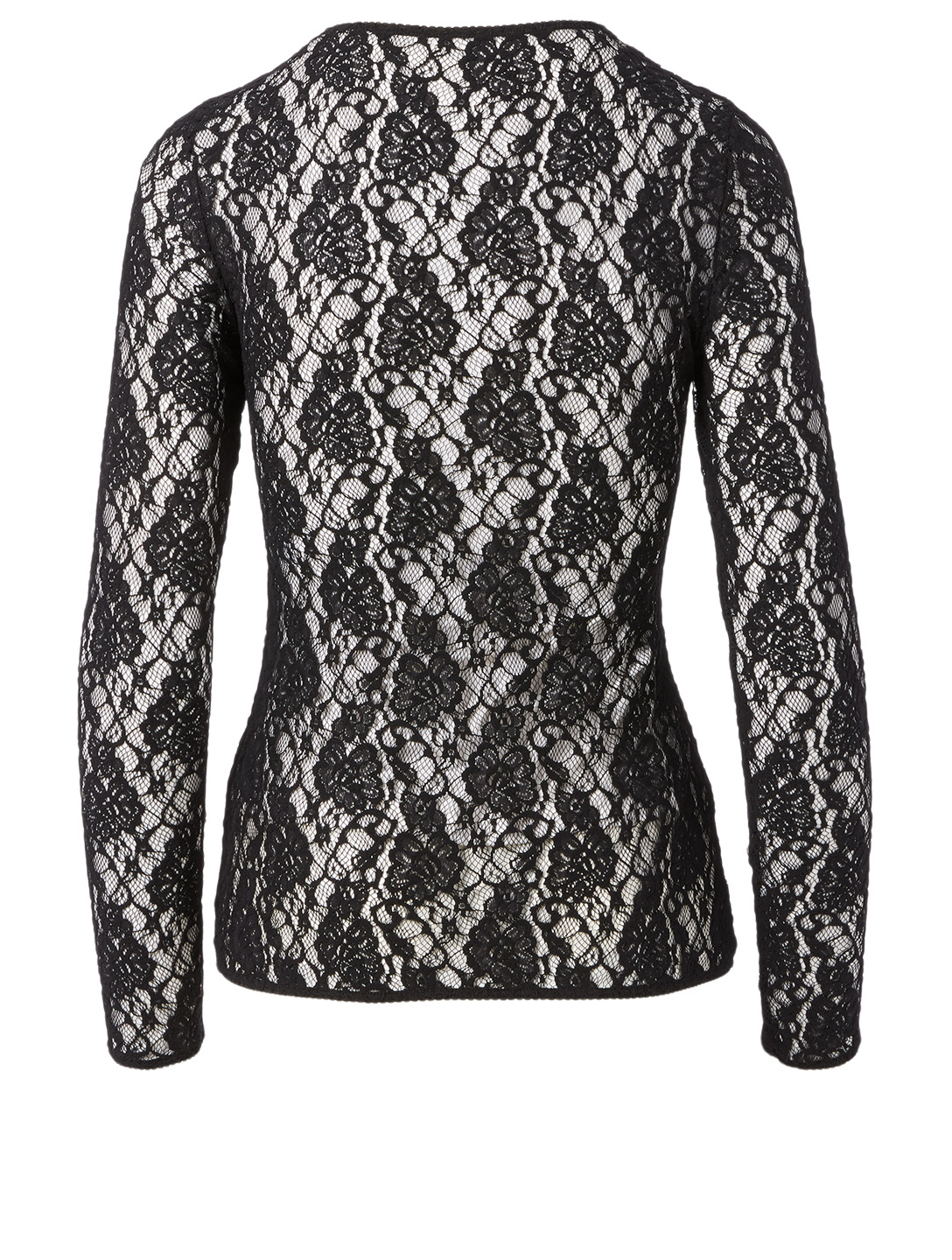 DOLCE & GABBANA Lace Long-Sleeve Top With D&G Elastic Women's Black