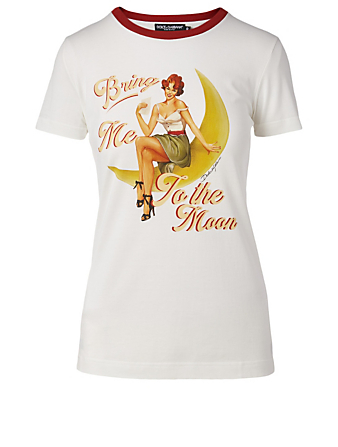 DOLCE & GABBANA Bring Me To The Moon Cotton T-Shirt Women's White