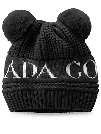 CANADA GOOSE Baby Double Pom Merino Wool Toque Kids Black