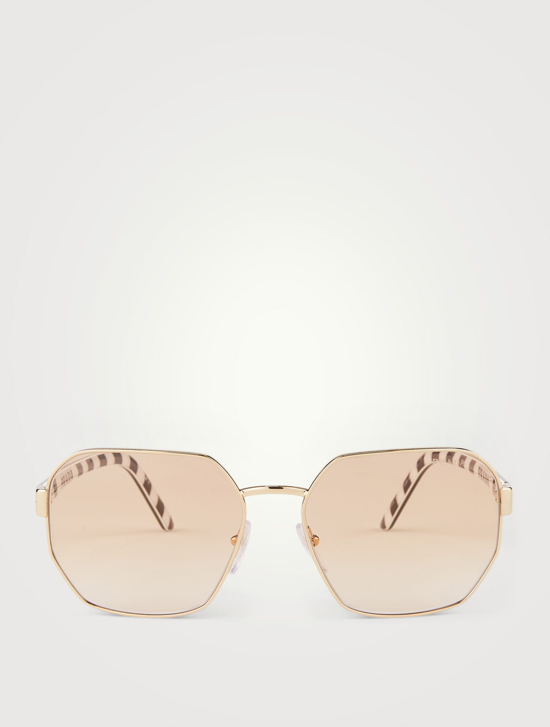 PRADA Millennials Rectangular Aviator Sunglasses Women's Metallic