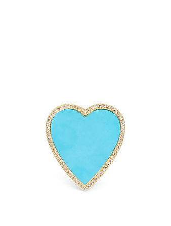 JENNIFER MEYER Large Gold Turquoise Inlay Heart Ring With Diamonds Women's Metallic