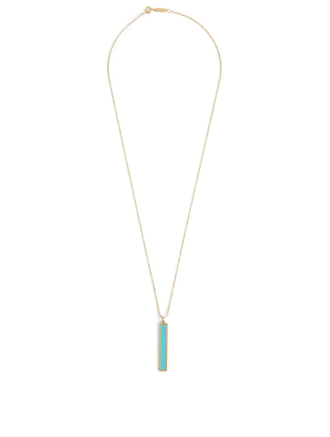 JENNIFER MEYER Large Gold Bar Pendant Necklace With Turquoise Inlay Women's Metallic