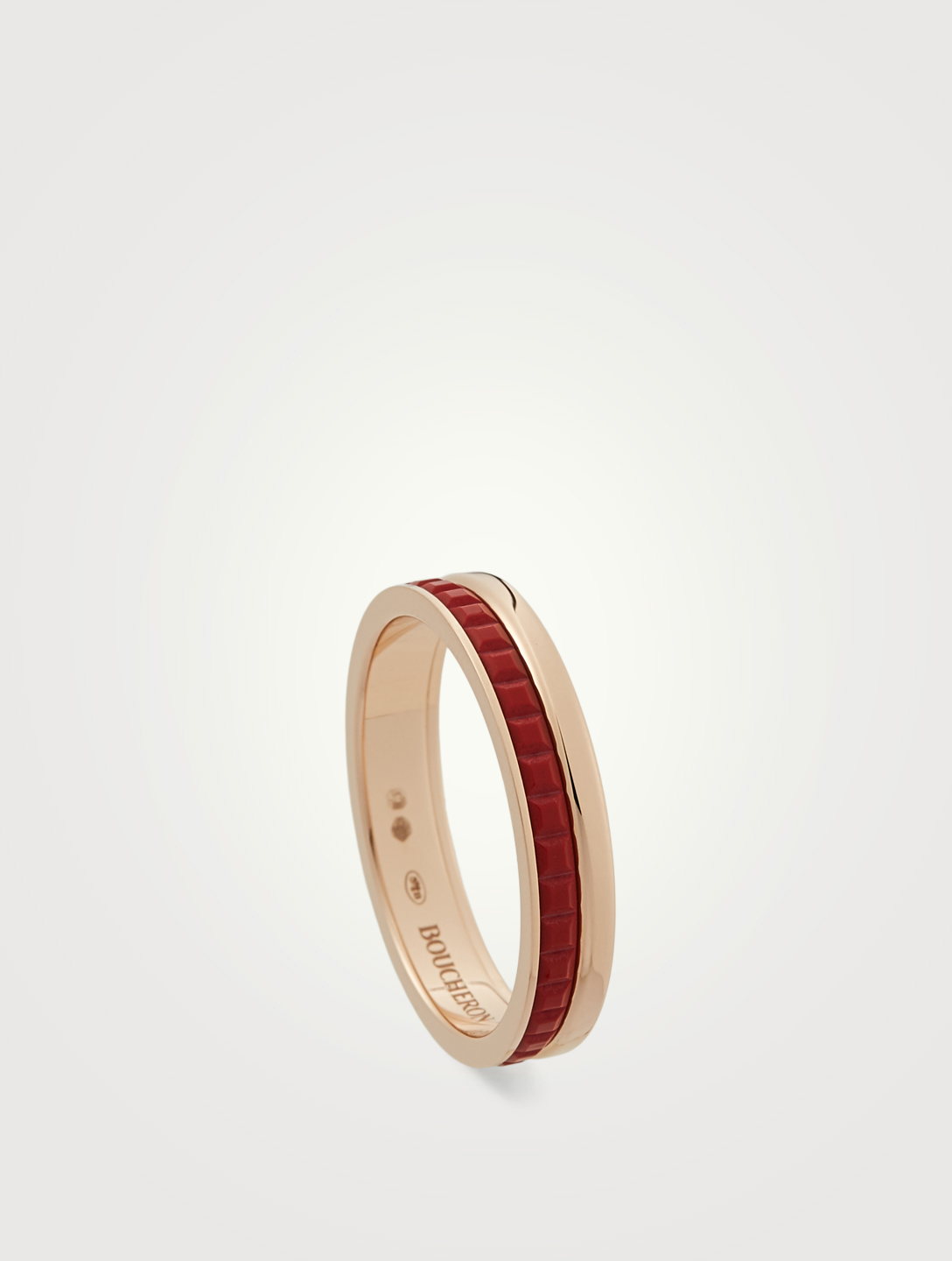 BOUCHERON Red Edition Quatre Rose Gold Wedding Band With Ceramic Women's Pink